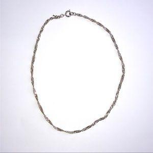 Trifari Silver Tone Necklace Twisted Style Chain